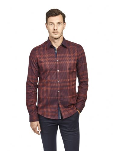 Mish Mash Men's Designer Long Sleeve Buttoned Red check Check Casual Shirt